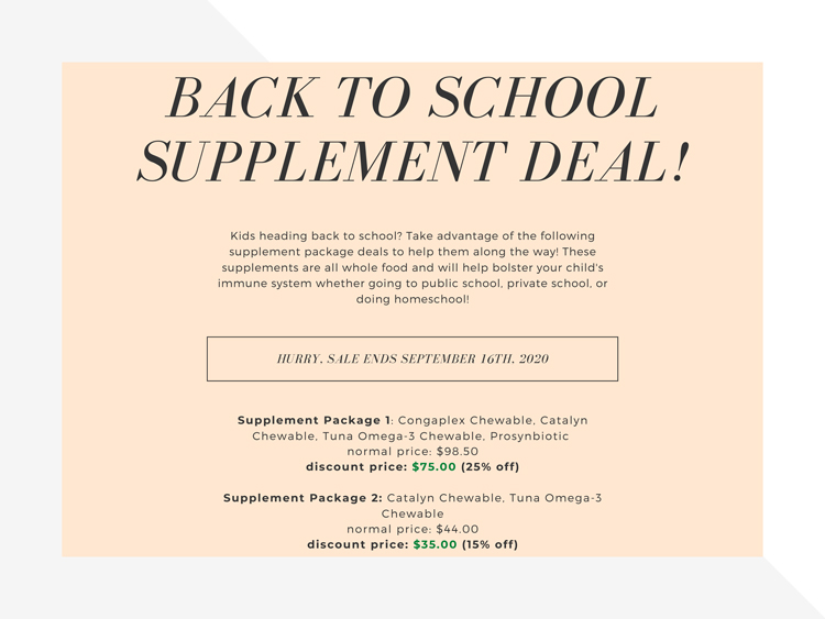 Back To School Supplement Sale at 24 Bones Chiropractic in Kennewick WA